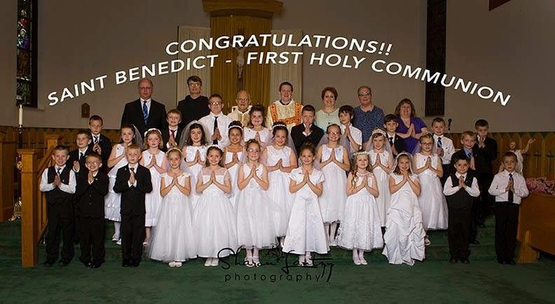 First Holy Communion: <br />Kaylie Bradley<br />Eli Cunningham<br />Aubry Deckard<br />Garrett Farabaugh<br />Sean Fisanick<br />Miley Hoover<br />Macy Johnston<br />Evan Larkin<br />Christopher Lydick<br />Aaron Swope<br />Michael Yeckley